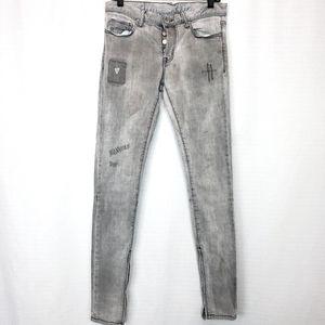 MNML Gray Ankle Zip Stretch Jean 30